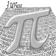 Digitally enhanced image of Greek letter Pi mathematical sign with the first thousand digits of the number in the background