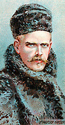 Fridtjof Nansen (1861-1930) Norwegian Arctic explorer, scientist and diplomat. Nobel prize for peace 1920. Chromolithograph card 1915