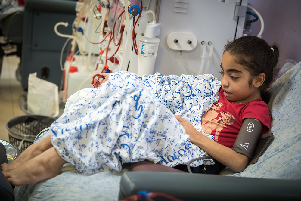 24 February 2020, Jerusalem: 11-year-old Amani comes to the Augusta Victoria Hospital three times per week for Dialysis, a treatment she has been receiving for the past four years. The procedure takes four hours each time.
