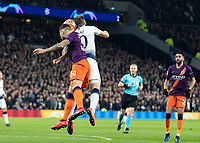 Football - 2018 / 2019 UEFA Champions League - Quarter Final , First Leg: Tottenham Hotspur vs. Manchester City<br /> <br /> Harry Kane (Tottenham FC)  and Nicolas Otamendi (Manchester City) compete for the header at White Hart Lane Stadium.<br /> <br /> COLORSPORT/DANIEL BEARHAM