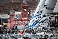 Image licensed to Lloyd Images.<br /> The Extreme Sailing Series 2015. Act 4 - Cardiff. UK<br /> Gazprom Team Russia skippered by Igor Lisovenko (RUS) and crewed by Phil Robertson (NZL), Garth Ellingham ( NZL), Alexander Bozohko (RUS) and Aleksey Kulakov (RUS).<br /> Credit: Lloyd Images