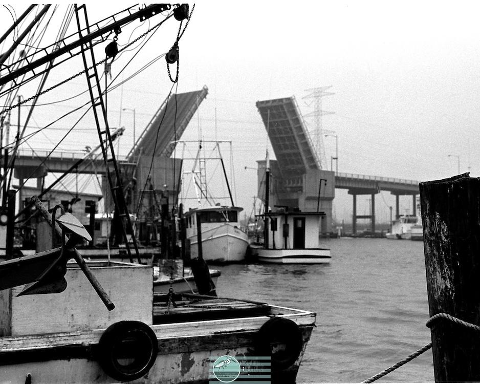 1979 Draw Bridge with 2 passing shrimp boats through bridge opening