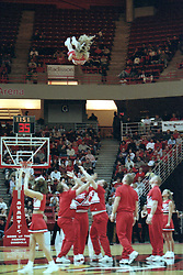 2000-2001 Illinois State Redbird men's basketball - Cheerleaders<br /> <br /> <br /> This image was scanned from a slide, print, negative or transparency.  Image quality may vary.  Dust and other unwanted artifacts may exist.