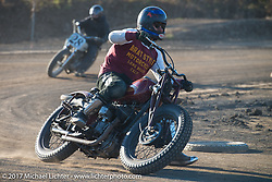 Go Takamine swapped bikes over and over to get back into the thick of it at his Brat Style's flat track racing at West Point Offroad Village. Kawagoe, Saitama. Japan. Wednesday December 6, 2017. Photography ©2017 Michael Lichter.