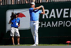 June 21, 2018 - Cromwell, CT, U.S. - CROMWELL, CT - JUNE 21: Webb Simpson of the United States hits from the 1st tee during the First Round of the Travelers Championship on June 21, 2018, at TPC River Highlands in Cromwell, Connecticut. (Photo by Fred Kfoury III/Icon Sportswire) (Credit Image: © Fred Kfoury Iii/Icon SMI via ZUMA Press)