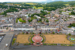 Aerial view from drone of esplanade and Winter Gardens in  Rothesay on Isle of Bute, Argyll and Bute, Scotland, UK