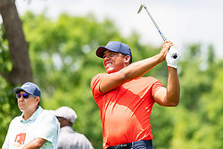 May 4, 2019 - Charlotte, NC, U.S. - CHARLOTTE, NC - MAY 04: Jhonattan Vegas hits from the 4th hole tee box during the third round of the Wells Fargo Championship at Quail Hollow on May 4, 2019 in Charlotte, NC. (Photo by William Howard/Icon Sportswire) (Credit Image: © William Howard/Icon SMI via ZUMA Press)