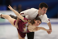 January 17, 2018 - Moscow, Russia - Miriam Ziegler and Severin Kiefer of Austria perform their short program in the pair competition at the 2018 ISU European Figure Skating Championships, at Megasport Arena in Moscow. (Credit Image: © Igor Russak/NurPhoto via ZUMA Press)
