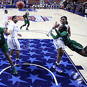 Tierra Jones, Tulane, (right), dives as she is rejected by Asianna Fuqua-Bey, Memphis, during the Tulane Green Wave Vs Memphis Tigers Quarter Final match at the  2016 American Athletic Conference Championships. Mohegan Sun Arena, Uncasville, Connecticut, USA. 5th March 2016. Photo Tim Clayton