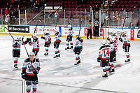 KELOWNA, BC - FEBRUARY 12: The Kelowna Rockets salute the fans on the win against the Tri-City Americans at Prospera Place on February 8, 2020 in Kelowna, Canada. (Photo by Marissa Baecker/Shoot the Breeze)