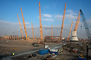 A 1998 construction landscape of The Millennium Dome (later to become the 02 Arena) on cleared land on Greenwich Peninsular, on 25th March 1998, in London, England. (Photo by Richard Baker / In Pictures via Getty Images)