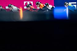 Dylan Hoogerwerf of Netherlands, Semen Elistratov of Russia, Kristen Santos of USA in action on 1500 meter during ISU World Short Track speed skating Championships on March 06, 2021 in Dordrecht