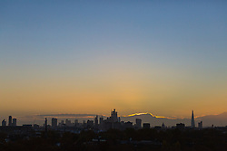 Day breaks over London's skyline, seen from Primrose Hill, to the north of the city. London, November 13 2018.