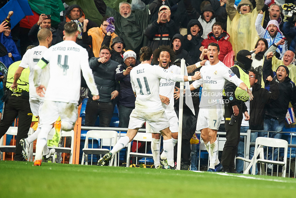 Cristiano Ronaldo (forward; Real Madrid) in action during the UEFA Champions League quarter-final second leg football match between Real Madrid vs Wolfsburg at Santiago Bernabeu on April 12, 2016 in Madrid