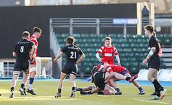 Mason Hughes of Bristol Bears U18 tackles a Saracens attacker - Mandatory by-line: Arron Gent/JMP - 12/01/2020 - RUGBY - Allianz Park - London, England - Saracens U18 v Bristol Bears U18 - Premiership U18 Academy