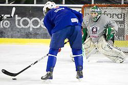 Goalkeeper Ales Sila at third practice of Slovenian National Ice hockey team before World championship of Division I - group B in Ljubljana, on April 6, 2010, in Hala Tivoli, Ljubljana, Slovenia.  (Photo by Vid Ponikvar / Sportida)