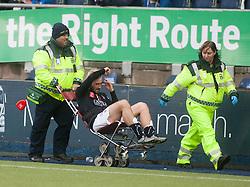 Falkirk's Lewis Kidd injured. Falkirk 2 v 1 Dunfermline, Scottish Championship game played 15/10/2016, at The Falkirk Stadium.