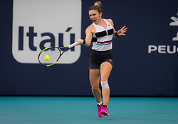 March 25, 2019 - Miami, Florida, Usa - Simona Halep of Romania in action during her fourth-round match at the 2019 Miami Open WTA Premier Mandatory tennis tournament. (Credit Image: © AFP7 via ZUMA Wire)