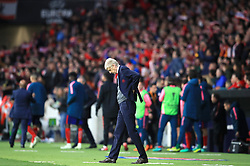 Arsenal manager Arsene Wenger shows his dejection after the final whistle of the UEFA Europa League, Semi Final, Second Leg at Wanda Metropolitano, Madrid.