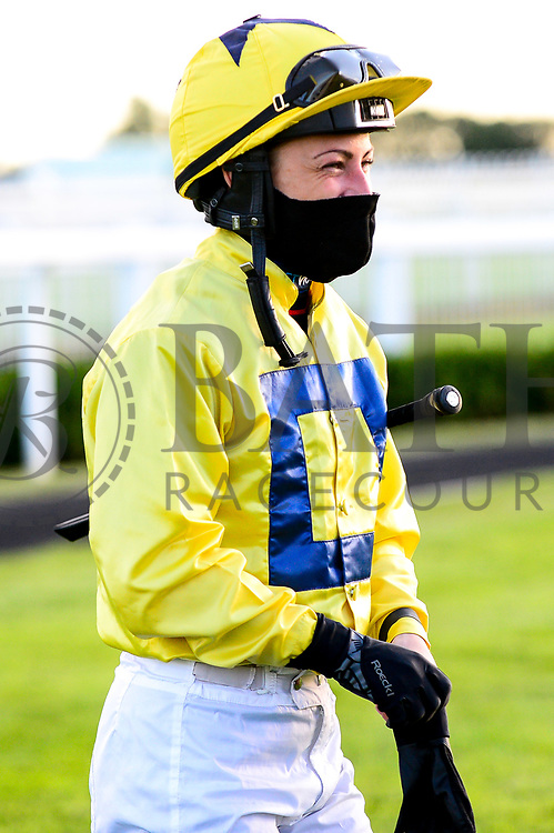 Jockey Nicola Currie in the parade ring  - Mandatory by-line: Dougie Allward/JMP - 10/07/2020 - HORSE RACING - Bath Racecourse - Bath, England - Bath Races