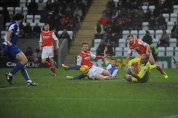 Bristol Rovers' John-Joe OToole scores a goal. - Photo mandatory by-line: Dougie Allward/JMP - Tel: Mobile: 07966 386802 14/12/2013 - SPORT - Football - Morecombe - Globe Arena - Morecombe v Bristol Rovers - Sky Bet League Two