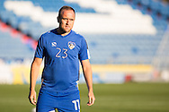 Lee Croft of Oldham Athletic warms up before the EFL Sky Bet League 1 match between Oldham Athletic and Northampton Town at Boundary Park, Oldham, England on 16 August 2016. Photo by Simon Brady.