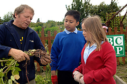 Children from local schools visit Scotchman Road allotments; and enjoy gardening; harvesting; cooking and eating the produce, Leeds
