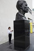 Statue of Nelson Mandela outside the Festival Hall on the South Bank, London, UK.