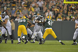 Josh Andrews #68 of the Philadelphia Eagles against the Green Bay Packers at Lambeau Field on August 29, 2015 in Green Bay, Pennsylvania. The Eagles won 39-26. (Photo by Drew Hallowell/Philadelphia Eagles)