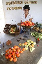 Woman and produce in farm shop at Organiponico Vial; Pinar del Rio; Cuba,