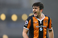 Harry Maguire of Hull City shouts . Premier league match, Everton v Hull city at Goodison Park in Liverpool, Merseyside on Saturday 18th March 2017.<br /> pic by Chris Stading, Andrew Orchard sports photography.