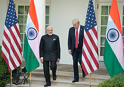 United States President Donald J. Trump and Prime Minister Narendra Modi of India arrive to deliver joint statements in the Rose Garden of the White House in Washington, DC, USA, on Monday, June 26, 2017. Photo by Ron Sachs/CNP/ABACAPRESS.COM