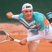 PARIS, FRANCE October 09. Dominic Stricker of Switzerland in action against Juan Bautista Torres of Argentina in the Boy's Singles Semi Finals on court fourteen during the French Open Tennis Tournament at Roland Garros on October 9th 2020 in Paris, France. (Photo by Tim Clayton/Corbis via Getty Images)