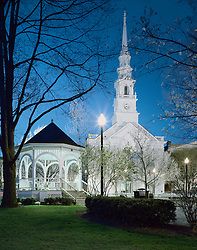 United Church & Gazebo, Central Square, Keene, New Hampshire at dusk - early spring.