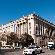 Constitution Avenue side of the Robert F. Kennedy Department of Justice Building at 950 Pennsylvania Ave NW in downtown Washington DC. It is the main national headquarters of the DoJ.