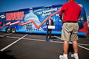Aug 9, 2010 - SUN CITY WEST, AZ: Congressman TRENT FRANKS, (R-AZ) speaks at the Spending Revolt Bus event in Sun City West, AZ, Monday. Franks, a fiscal and social conservative, said he's voted against every one of the stimulus bills enacted by the administration. The Spending Revolt Bus stopped in Sun City West, a retirement community northwest of Phoenix, Monday. Spending Revolt is a new coalition of taxpayers and business owners concerned about government spending. The bus is attracting Republican and Tea Party affiliated candidates to its events. The bus has crisscrossed Nevada, California and Arizona and is heading east to Washington DC.   Photo by Jack Kurtz / ZUMA Press
