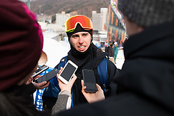 February 18, 2018 - Pyeongchang, SOUTH KOREA - 180218 Henrik Harlaut of Sweden being interviewed by media after his last run in the Men's Slopestyle Finale during day nine of the 2018 Winter Olympics on February 18, 2018 in Pyeongchang..Photo: Petter Arvidson / BILDBYRN / kod PA / 91979 (Credit Image: © Petter Arvidson/Bildbyran via ZUMA Press)