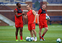 ANN ARBOR, USA - Friday, July 27, 2018: Liverpool's Daniel Sturridge and new signing Xherdan Shaqiri during a training session ahead of the preseason International Champions Cup match between Manchester United FC and Liverpool FC at the Michigan Stadium. (Pic by David Rawcliffe/Propaganda)