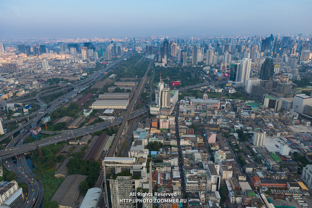 Bangkok Downtown aerial view near the Baiyoke Tower