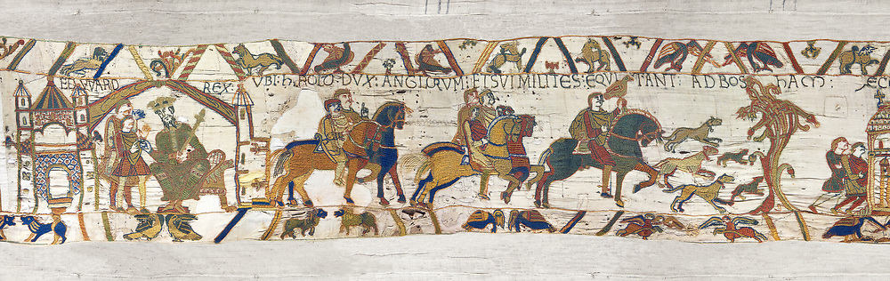 11the Century Medieval Bayeux Tapestry - Scene 1 - Edward the Confessor sends Harold to inform William that he will succeed to the throne of England. Scene 2 - Harold proceeeds to the coast with a pack of Hounds, BYX1<br /> <br /> If you prefer you can also buy from our ALAMY PHOTO LIBRARY  Collection visit : https://www.alamy.com/portfolio/paul-williams-funkystock/bayeux-tapestry-medieval-art.html  if you know the scene number you want enter BXY followed bt the scene no into the SEARCH WITHIN GALLERY box  i.e BYX 22 for scene 22)<br /> <br />  Visit our MEDIEVAL ART PHOTO COLLECTIONS for more   photos  to download or buy as prints https://funkystock.photoshelter.com/gallery-collection/Medieval-Middle-Ages-Art-Artefacts-Antiquities-Pictures-Images-of/C0000YpKXiAHnG2k