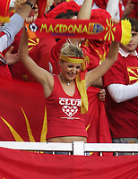Photo: Andrew Unwin.<br />England v Macedonia. UEFA European Championships 2008 Qualifying. 07/10/2006.<br />A Macedonian fan cheers on her team.