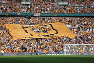 a Giant Hull City flag is moved around the stand inside Wembley Stadium before k/o.  Skybet football league Championship play off final match, Hull city v Sheffield Wednesday at Wembley Stadium in London on Saturday 28th May 2016.<br /> pic by John Patrick Fletcher, Andrew Orchard sports photography.
