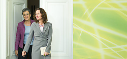 28.05.2014, Gruener Klub, Wien, AUT, Gruene, Nach der EU-Wahl und Aktuelles. im Bild v.l.n.r. Spitzenkandidatin der Gruenen zur EU-Wahl Ulrike Lunacek und Gruene Klubobfrau Eva Glawischnig // f.l.t.r. Topcandidate of the Greens for EU-Election Leader of the parliamentary group the greens Eva Glawischnig<br />  during press conference of the greens about EU-Election at pressroom of the greens in Vienna, Austria on 2014/05/28. EXPA Pictures © 2014, PhotoCredit: EXPA/ Michael Gruber