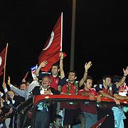 Turkish soccer National team come back to Turkey World Cup 2002 . Turkey's during their in Ataturk Airport in Istanbul/TURKEY.<br /> Photo by Aykut AKICI/TurkSporFoto