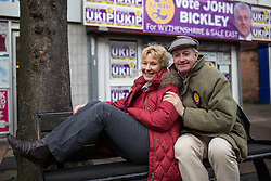 © Licensed to London News Pictures . 10/02/2014 . Sale , UK . Christine and Neil Hamilton outside the UKIP campaign office in Sale . Neil Hamilton , Deputy Chairman of UKIP , and his wife , Christine Hamilton , campaign for UKIP on the trail for the Wythenshawe and Sale East by-election , today (Monday 10th February 2014) . UKIP 's candidate , John Bickley , is widely predicted to come second . The election was called after the death of the Labour MP , Paul Goggins . Photo credit : Joel Goodman/LNP
