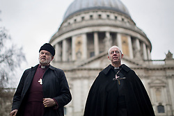 © licensed to London News Pictures. London, UK 16/03/2013. Archbishop of Canterbury the Most Rev Justin Welby (right) conducts a journey from the City of London to Southwark with prayers and accompanied with Bishop of London Richard Chartres (left) on Saturday 16 March 2013. Photo credit: Tolga Akmen/LNP