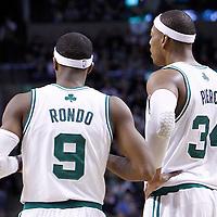 04 March 2012: Boston Celtics point guard Rajon Rondo (9) talks to Boston Celtics small forward Paul Pierce (34) during the Boston Celtics 115-111 (OT) victory over the New York Knicks at the TD Garden, Boston, Massachusetts, USA.