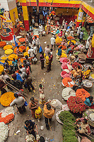 Business as usual in the flower section - City Market, Bangalore, India