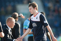 Falkirk's manager Gary Holt with Falkirk's Blair Alston.<br /> Raith Rovers 1 v 1 Falkirk, Scottish Championship 28/9/2013.<br /> ©Michael Schofield.