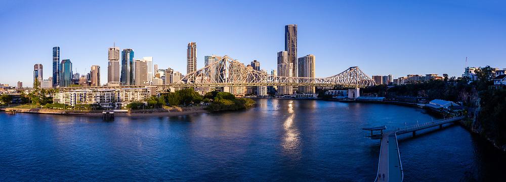 Panoramic aerial view of the New Farm Riverwalk & the Story Bridge, Brisbane, Queensland, Australia